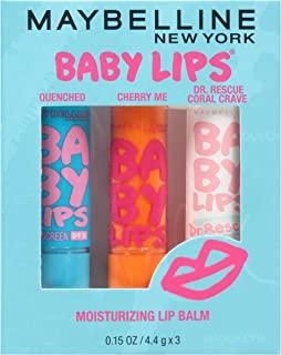 Maybelline New York Baby Lips Moisturizing Lip Balm 3-pack, Lip Care Essentials, 3 Shades