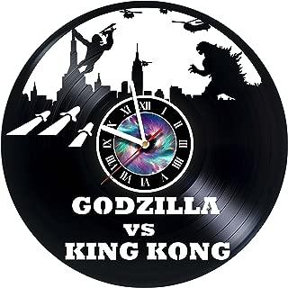 StepArtHouse Godzilla VS King Kong - Handmade Vinyl Record Wall Clock Monsters Clock Gift idea for Birthday, Christmas, Women, Men, Friends, Girlfriend Boyfriend and Teens - Living Kids Room Nursery