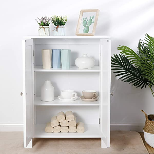 超低价现代浴室地板收纳柜带可调节架子和双开门防锈防潮客厅现代家居家具收纳整理柜