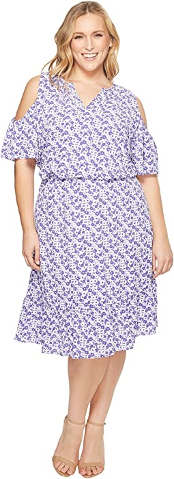 Plus Size Cold Shoulder Flounce Dress