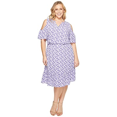 MICHAEL Michael Kors Plus Size Cold Shoulder Flounce Dress (Amethyst/Light Quartz Multi) Women