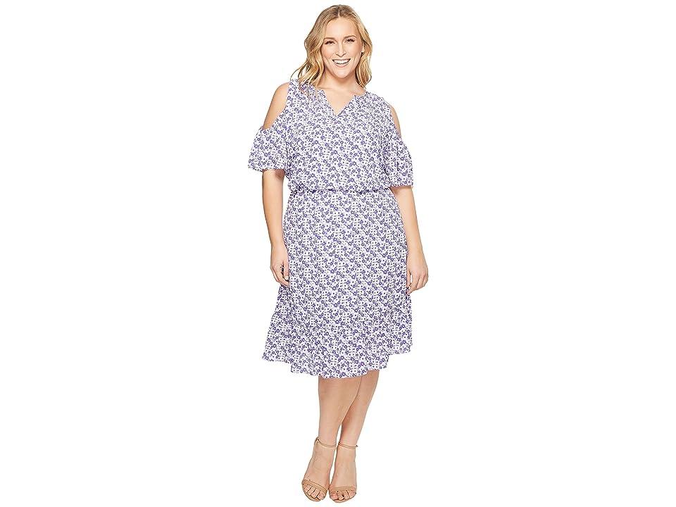 MICHAEL Michael Kors Plus Size Cold Shoulder Flounce Dress (Amethyst/Light Quartz Multi) Women