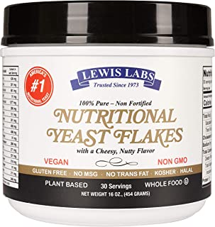 Lewis Labs Nutritional Yeast mini Flakes (1 lb.) - 100% Pure, NON-Fortified, NON-GMO, Gluten Free, Vegan, Kosher- Whole Food-Plant Based Protein, Vitamin B Complex, 18 Amino Acids- Delicious Taste