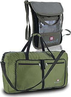 Suvelle 2 PCS Travel SET: Foldable Duffel Bag and RFID Neck Pouch Stash