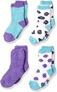 Trimfit Little Girls Microfiber Fuzzy Printed Cozy Socks (Pack of 4)