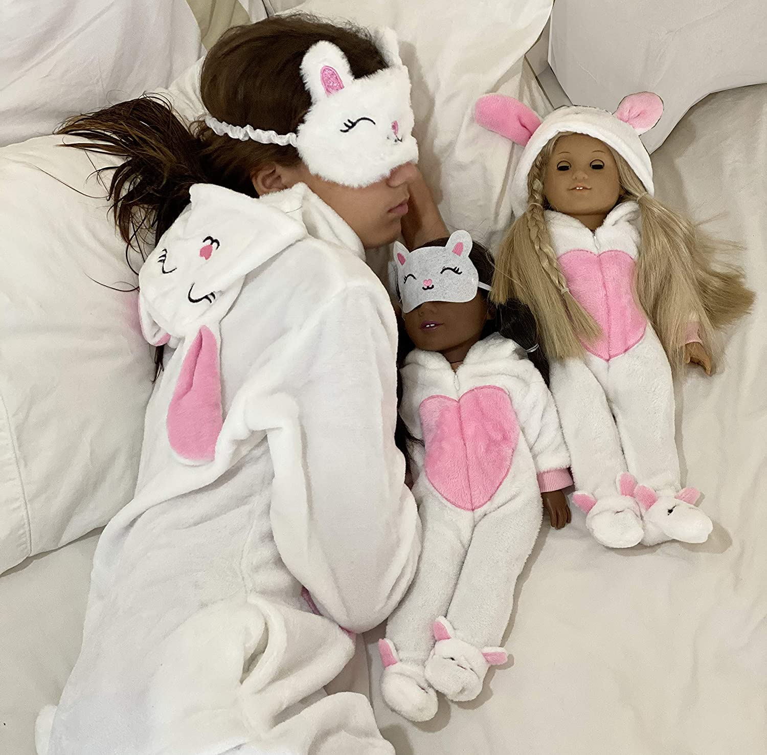Fits Girl and 18 inch Doll Like American Doll Not Included MY GENIUS DOLLS Bunny Matching Onesie Pajamas and Sleepmasks