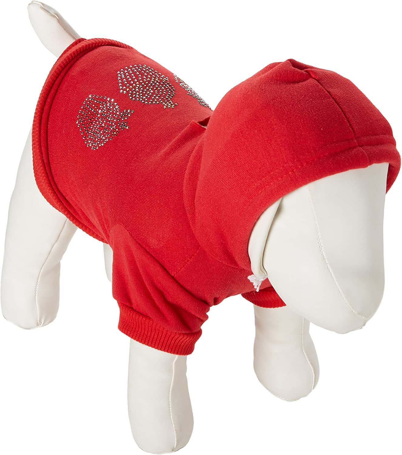 Mirage Pet Products 10Inch Christmas Cupcakes Rhinestone Hoodie, Small, Red