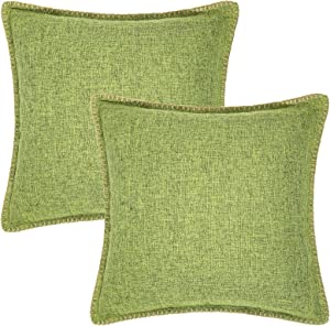 decorUhome Green Linen Pillow Covers 18 x 18 Inch Pack of 2 Farmhouse Rustic Decorative Throw Pillow Covers for Bed Sofa Couch