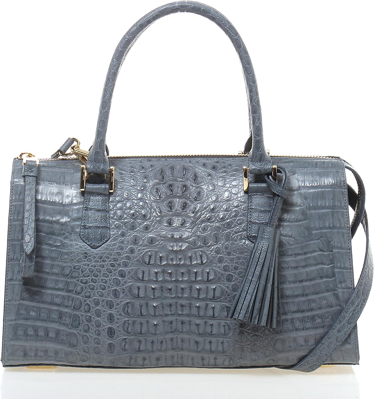 JEAN LOUIS SCHERRER Genuine Crocodile Caiman Skin Top Handle Handbags
