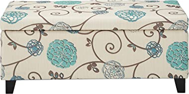 Christopher Knight Home Breanna Fabric Storage Ottoman, White And Blue Floral