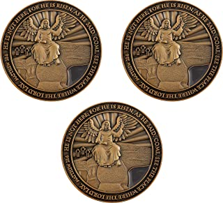 Easter Resurrection Coin, He is Risen, Bulk Pack of 3, Handout for Church Service, Christ is Alive and Empty Tomb, Jesus S...