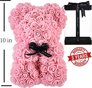 AZXU Rose Bear - Rose Teddy Bear on Every Rose Bear -Flower Bear Perfect for Anniversary's - Clear Gift Box Included! 10 Inche (Light Pink)