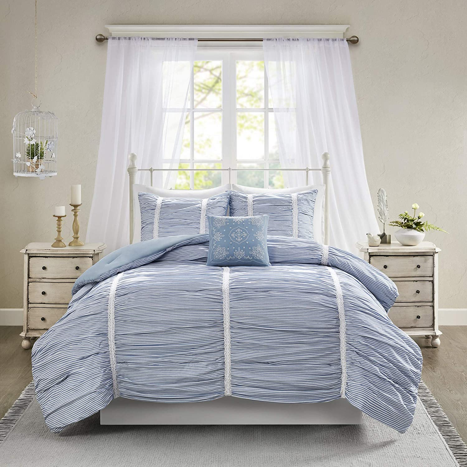 Madison Park Ana 4 Piece Comforter Cotton Printed Stripe Ruched with Lace Accent-Embroidered Pillow Shabby Chic Down Alternative Hypoallergenic All Season Bedding-Set, Full/Queen, Blue