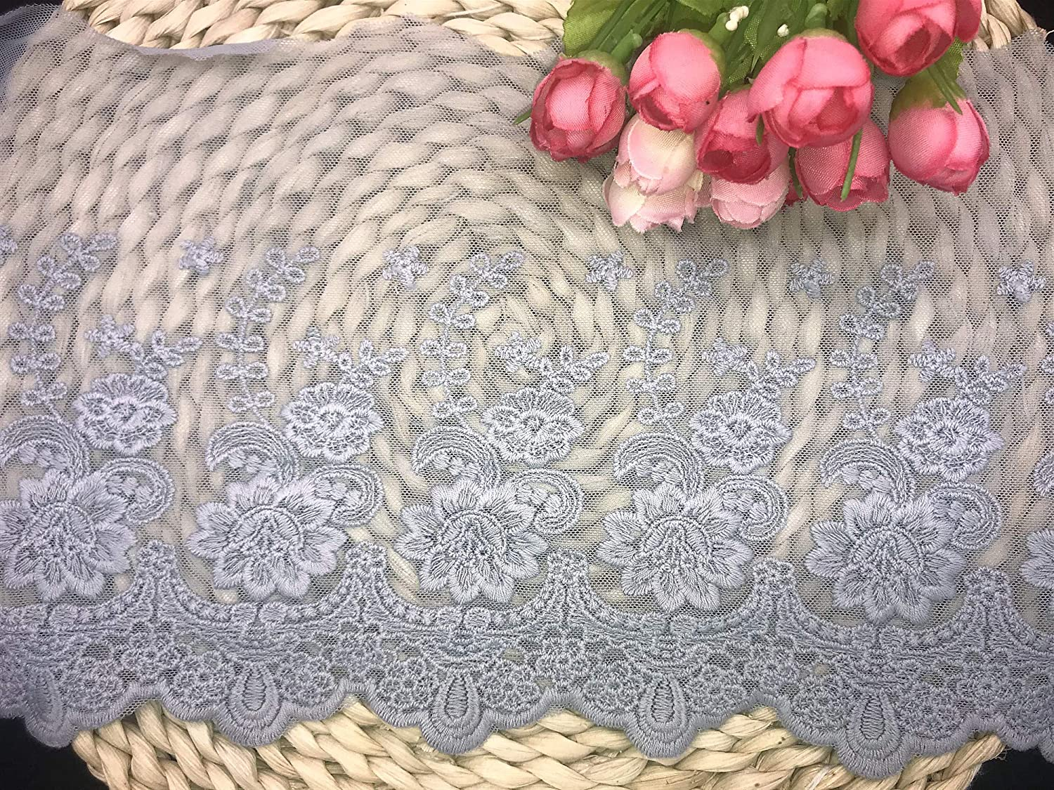 Import 21CM Width Europe Rose Wedding Lac Max 73% OFF Embroidery Inelastic Applique