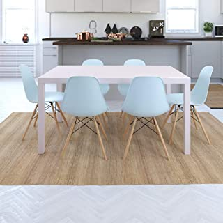 DHP 7 Piece Rectangular Taupe Table with White Mid Century Molded Chairs with Wood Legs Dining Set,