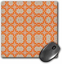 3dRose Orange n Tan Damask - Mouse Pad, 8 by 8 inches (mp_80610_1)