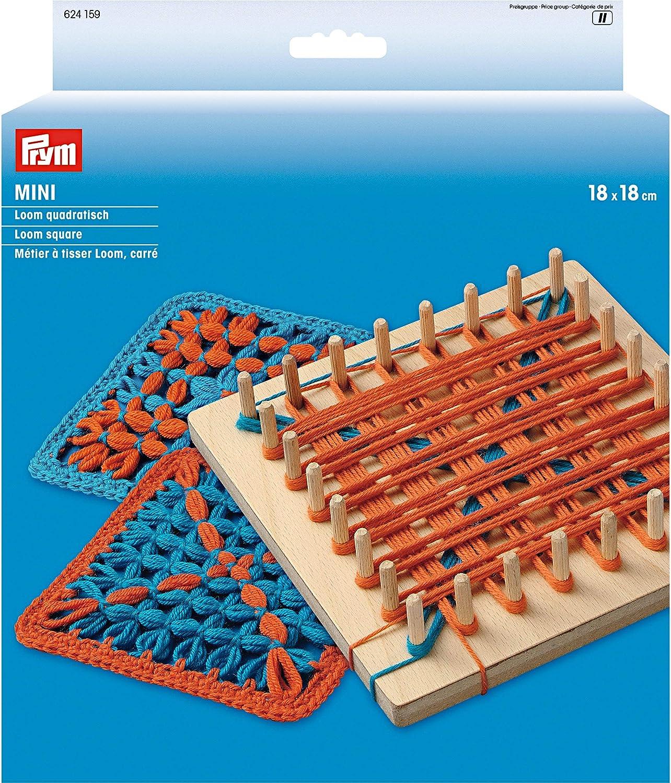 Prym: Mini Cuadrado para Tejer en Telar, de Madera, Multicolor, 18x 18cm