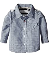 IKKS - Button Up Shirt with Striped Knit Jersey Back (Infant/Toddler)
