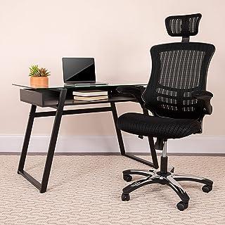Flash Furniture High-Back Black Mesh Swivel Ergonomic Executive Office Chair with Flip-Up..