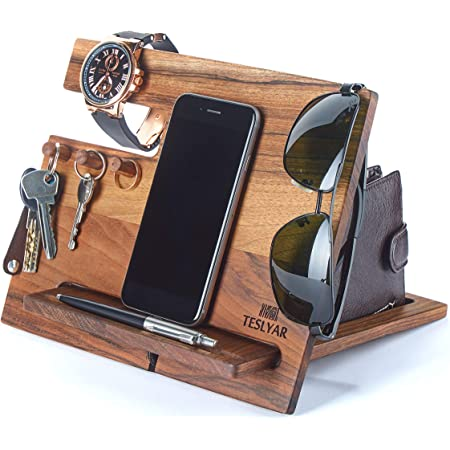 TESLYAR Natural Walnut Wood Phone Docking Station Hooks Key Holder Wallet Stand Watch Organizer Men Gift Husband Anniversary Birthday Nightstand Purse Father Graduation Male Travel Idea Gadgets Solid