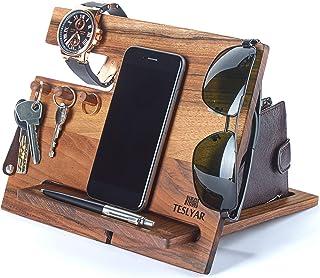 Wood Phone Docking Station Walnut Hooks Key Holder Wallet Stand Watch Organizer Men Gift Husband Wife Anniversary Dad Birt...
