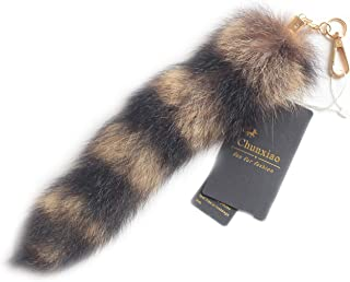 Chunxiao 10 inches Authentic America Raccoon Tail Fur Skin Cosplay Toy Handbag Accessories Key Chain Ring Hook
