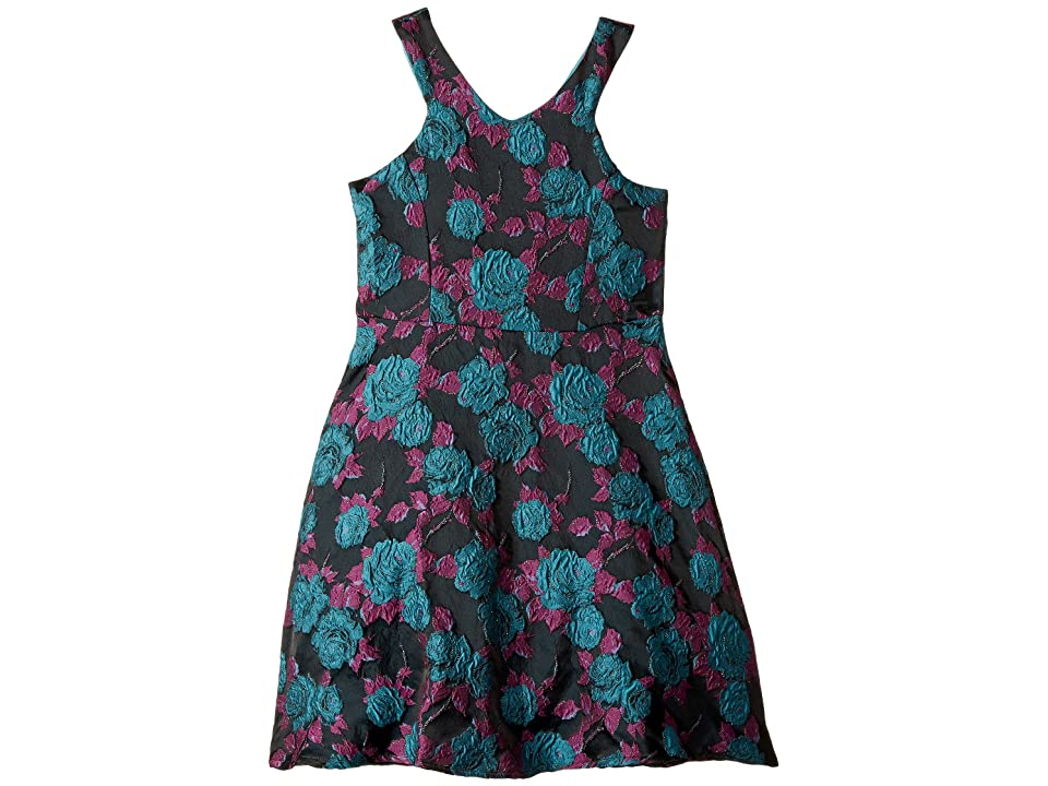 Us Angels Cut Away Fit and Flare Dress with Flowers (Big Kids) (Multi) Girl