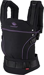 manduca First Baby Carrier > BlackLine Midnight Purple < Mochila Portabebes con Cinturon Ergonomico & Extension de Espalda, Algodón Orgánico, para bebés de 3,5 a 20 kg (negro-púrpura/violeta)