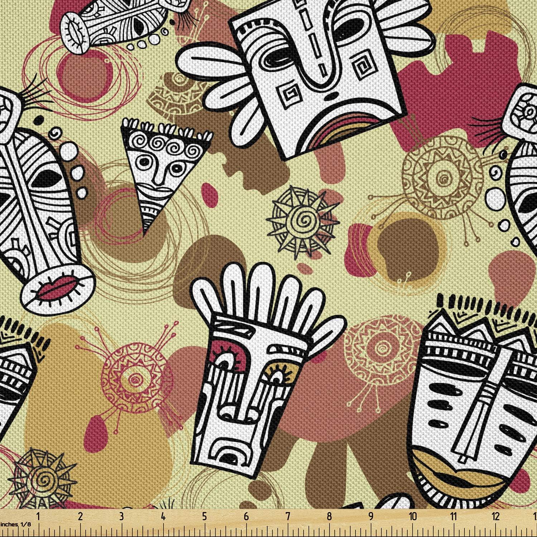 Ambesonne Prehistoric Fabric by Max 54% OFF The Luxury Aboriginal Fea Yard Cartoon