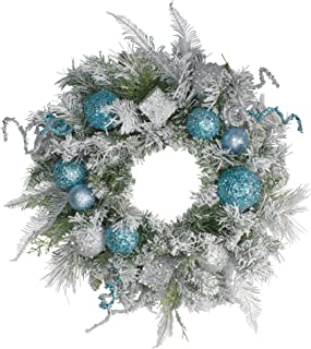 Northlight Flocked Sequin Ornaments Artificial Pine Christmas Wreath -Unlit, 24