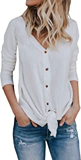 Imilyela Womens Waffle Knit Tunic Blouse Tie Knot Henley Tops Bat Wing Plain Shirts