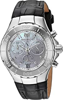 Technomarine Women's Eva Longoria Stainless Steel Quartz Watch with Leather Calfskin Strap, Black, 21 (Model: TM-416033)