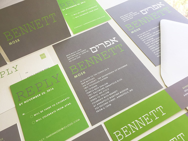 Grey and Regular discount Green Bar SALENEW very popular! Mitzvah Bat Invita Modern Invitation