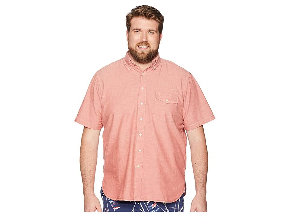 Polo Ralph Lauren Big Tall Chambray Button Down Short Sleeve Sport Shirt (Nautical Red/White) Men
