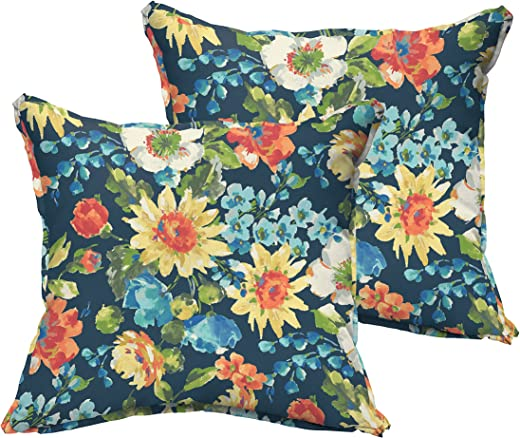 B07CL4HK78✅Mozaic Company AMPS115765 Indoor Outdoor Square Pillows, Set of 2, 16 x 16, Navy Blue & Multicolor Floral