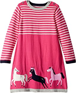 Graphic Knit Sweater Dress (Toddler/Little Kids)