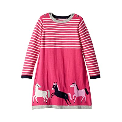 Joules Kids Graphic Knit Sweater Dress (Toddler/Little Kids) (Deep Pink Horse) Girl