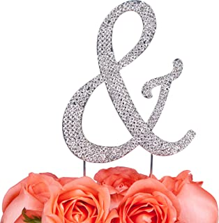 LOVENJOY Gift Box Pack Personalized Letter & AND Crystal Rhinestone Wedding Engagement Birthday Bridal Shower Metal Cake Decoration Topper Silver (3.3-inch)