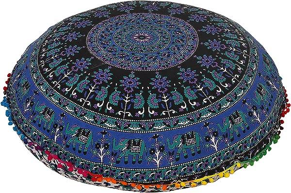 32 Blue Multi Mandala Bohemian Indian Floor Cushion Seating Boho Decorative Mandala Ottoman Poufs Multi Pom Pom Pillow Case
