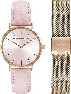 BCBGMAXAZRIA Women's Japanese-Quartz Stainless Steel Case Genuine Leather Strap Casual Watch (Model: BG50669001-03