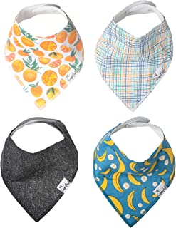 """Baby Bandana Drool Bibs for Drooling and Teething 4 Pack Gift Set """"Citrus"""" by Copper Pearl"""