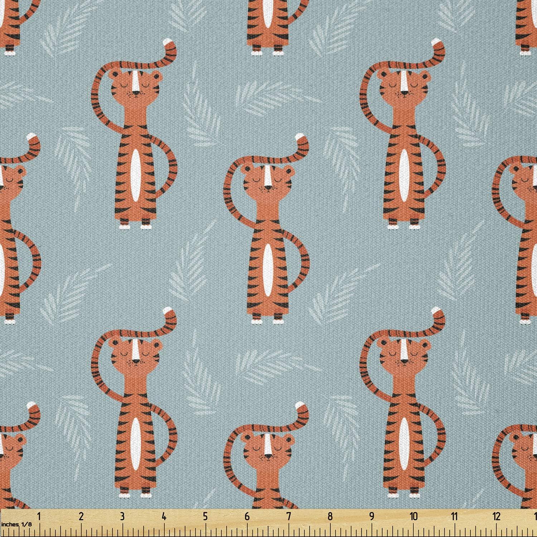 Ambesonne Cartoon free Fabric by The Animal Virginia Beach Mall Yard Zoolog Tiger Orange