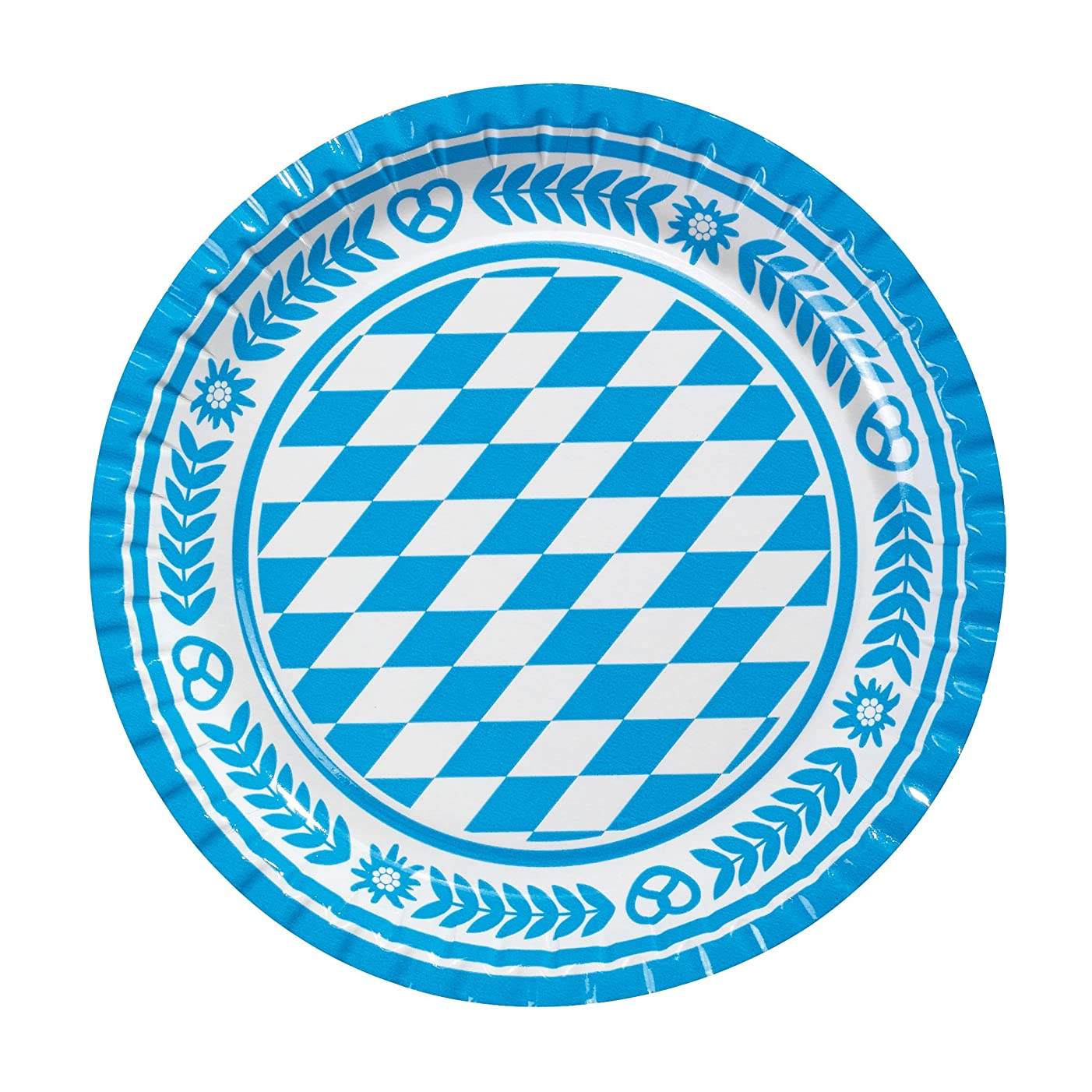Susy Card 11095585 Plate with Bavarian Rhombus Design 23 cm Pack of 10