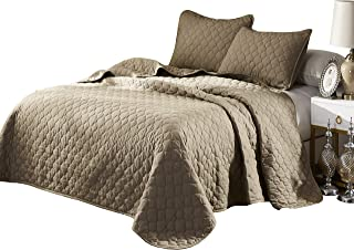 Oversize King,Cal King Stitched Taupe Color Quilted Flower Design Bedspread Coverlet 118 by 106 inches Plus 2 King Shams 20 by 36 inch Hypoallergenic Reversible,Home, Hotel,Motel, Rentals 7.30 lbs