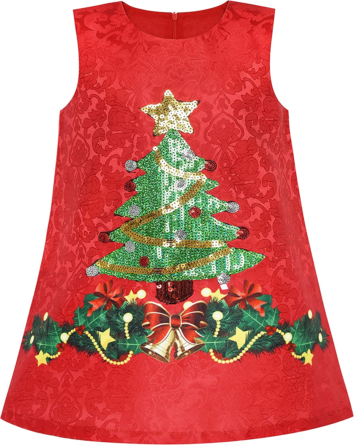 Sunny Fashion Girls Dress A-line Christmas Tree Xmas Sequin Sparkling Party