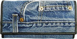 Women Blue Denim Money Flap Wallet Wristlet Purse Clutch DMW06