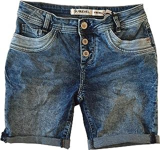 59d09076fd0ff STS Bermuda Jeans pour Femme by Boyfriend Look Entrejambe Bas Bermuda en  Jean délavé Coutures contrastées
