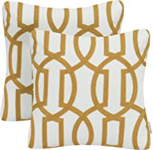(Pack of 2-Color 1) - Pack of 2 Mika Home Embroidery Geometric Links Accent Decorative Throw Pillow Cover Sofa Cushion Cas...