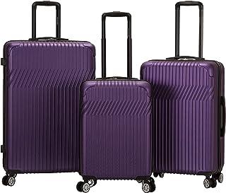 Rockland Pista Hardside Spinner Wheel Luggage Set, Purple, 3-Piece (20/24/28)