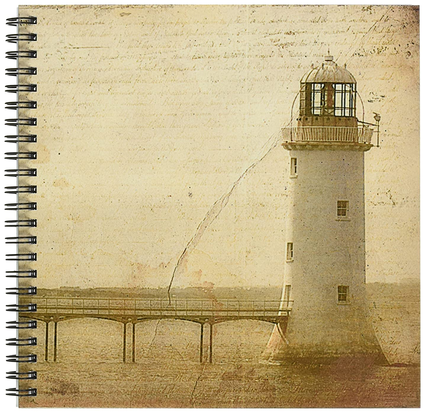 3dRose db_11386_1 Lighthouse Grunge by Angelandspot Drawing Book, 8 by 8-Inch
